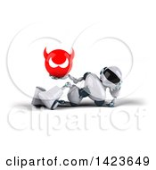 Clipart Of A 3d White And Blue Robot On A White Background Royalty Free Illustration
