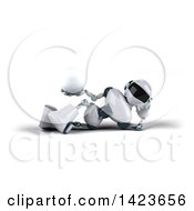3d White And Blue Robot On A White Background
