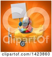 Clipart Of A 3d Scarlet Macaw Parrot Royalty Free Illustration