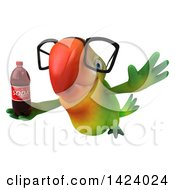Clipart Of A 3d Green Macaw Parrot On A White Background Royalty Free Illustration