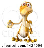 Clipart Of A 3d Yellow Gecko Lizard Presenting On A White Background Royalty Free Illustration
