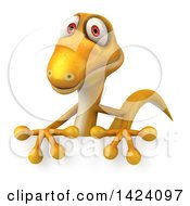 Clipart Of A 3d Yellow Gecko Lizard Over A Sign On A White Background Royalty Free Illustration by Julos
