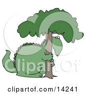 Big Green Dinosaur Hugging And Hiding Behind A Tree In Fear Clipart Illustration