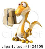 Clipart Of A 3d Yellow Gecko Lizard On A White Background Royalty Free Illustration by Julos