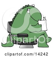 Grinning Green Dinosaur Sitting Cross Legged In A Chair In A Lobby And Reading A Book Or Brochure