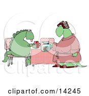 Female Wife Dinosaur In A Pink Robe Curlers And Slippers Serving Coffee To Her Exhausted Husband Who Is Sitting At A Table In The Morning