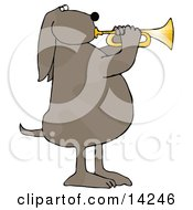 Musical Brown Spotted Dog Standing On His Hind Legs And Blowing While Playing A Golden Trumpet Clipart Picture by djart