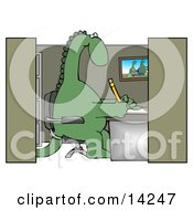 Green Dinosaur Sitting In A Chair At A Desk In An Employee Office Cubicle And Working Clipart Illustration