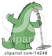 Green Comedian Or Singing Dinosaur On Stage With A Microphone