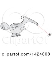 Clipart Of A Cartoon Anteater Zapping Up An Ant Royalty Free Vector Illustration