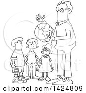 Cartoon Black And White Lineart Male Teacher Discussing Planet Earth And Holding A Globe With Students