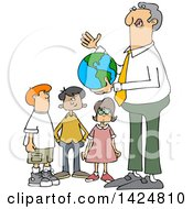 Clipart Of A Cartoon Male Teacher Discussing Planet Earth And Holding A Globe With Students Royalty Free Vector Illustration by Dennis Cox