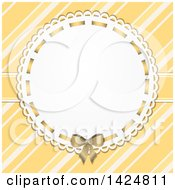 Vintage Circular Frame With A Bow Over Yellow And White Diagonal Stripes