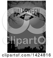 Border Of Black Silhouetted Branches Grunge A Cemetery And Vampire Bats Over Gray Text Space With A Full Moon And Halloween 31 October 2016 Text