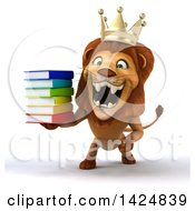 3d Male Crowned King Lion On A White Background