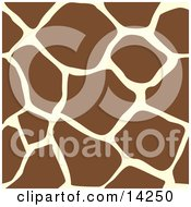 Giraffe Animal Print Background With Brown And Tan Patterns Clipart Illustration