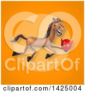 Clipart Of A 3d Brown Horse Royalty Free Illustration