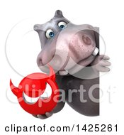 Clipart Of A 3d Henry Hippo Character On A White Background Royalty Free Vector Illustration