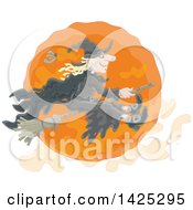 Clipart Of A Witch Flying On A Broom Stick Over An Orange Full Halloween Moon Royalty Free Vector Illustration by Alex Bannykh
