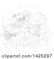 Clipart Of A Cartoon Black And White Lineart Halloween Witch Flying On A Broomstick Over A Full Moon Royalty Free Vector Illustration by Alex Bannykh