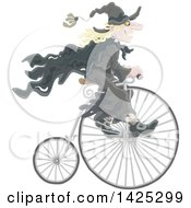 Clipart Of A Halloween Witch Riding A Penny Farthing Bike Royalty Free Vector Illustration by Alex Bannykh