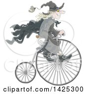 Clipart Of A Cartoon Halloween Witch Riding A Penny Farthing Bicycle Royalty Free Vector Illustration by Alex Bannykh