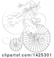 Clipart Of A Cartoon Black And White Lineart Halloween Witch Riding A Penny Farthing Bicycle Royalty Free Vector Illustration by Alex Bannykh