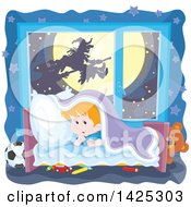 Clipart Of A Halloween Witch Flying On A Broomstick Against Full Moon Through A Scared Boys Window Royalty Free Vector Illustration by Alex Bannykh