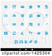 Clipart Of A Set Of Blue Android App Icons Over Gray Royalty Free Vector Illustration by cidepix