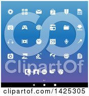 Clipart Of A Set Of White Android App Icons Over Gradient Royalty Free Vector Illustration by cidepix