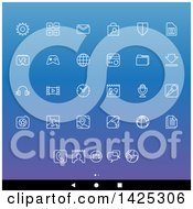 Clipart Of A Set Of White Lineart Android App Icons Over Gradient Royalty Free Vector Illustration