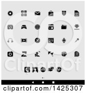 Clipart Of A Set Of Black And White Android App Icons Over Gray Royalty Free Vector Illustration