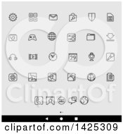 Clipart Of A Set Of Lineart Android App Icons Over Gray Royalty Free Vector Illustration by cidepix