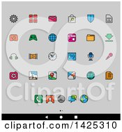 Set Of Colorful Outlined Android App Icons Over Gray