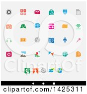 Clipart Of A Set Of Colorful Android App Icons Over Gray Royalty Free Vector Illustration