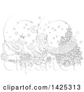 Clipart Of A Cartoon Black And White Lineart Giggling Boy Under A Blanket As Santa Sets Gifts Under A Christmas Tree Royalty Free Vector Illustration