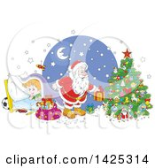 Clipart Of A Cartoon Giggling Caucasian Boy Under A Blanket As Santa Sets Gifts Under A Christmas Tree Royalty Free Vector Illustration