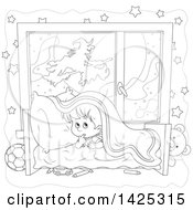 Clipart Of A Cartoon Black And White Lineart Halloween Witch Flying On A Broom Stick Against Full Moon Through A Scared Boys Window Royalty Free Vector Illustration by Alex Bannykh