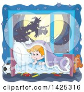 Clipart Of A Cartoon Halloween Witch Flying On A Broom Stick Against Full Moon Through A Scared Boys Window Royalty Free Vector Illustration by Alex Bannykh