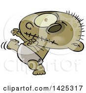 Clipart Of A Cartoon Zombie Baby Walking Royalty Free Vector Illustration by Ron Leishman