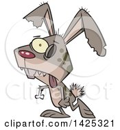 Clipart Of A Cartoon Zombie Bunny Rabbit Walking Royalty Free Vector Illustration by Ron Leishman