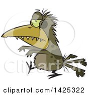 Clipart Of A Cartoon Zombie Bird Walking Royalty Free Vector Illustration by toonaday