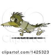 Clipart Of A Cartoon Zombie Roadrunner Bird With An Eyeball Hanging Out Royalty Free Vector Illustration by Ron Leishman