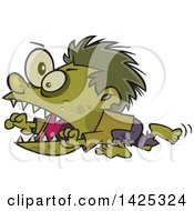 Clipart Of A Cartoon Zombie Hyper Boy Running Royalty Free Vector Illustration by Ron Leishman