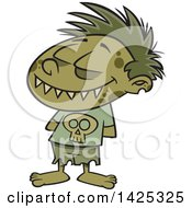 Clipart Of A Cartoon Zombie Boy Grinning With His Hands Behind His Back Royalty Free Vector Illustration