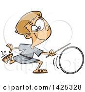 Cartoon Roman Boy Wheeling A Ring