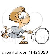 Clipart Of A Cartoon Roman Boy Wheeling A Ring Royalty Free Vector Illustration by toonaday