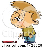 Clipart Of A Cartoon Caucasian Boy Pouting Over A Flat Balloon Royalty Free Vector Illustration