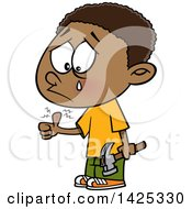 Clipart Of A Cartoon African American Boy Crying After Banging His Thumb With A Hammer Royalty Free Vector Illustration by toonaday
