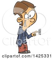 Clipart Of A Cartoon Caucasian Boy Ringing A Door Bell Royalty Free Vector Illustration